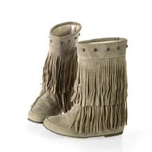 SWONCO Plus rozmiar zimowe buty damskie ciepłe buty Tassel śniegowe buty dla kobiet 2019 kobiece buty do połowy łydki obuwie czarne płaskie buty tanie tanio Flock Pasuje prawda na wymiar weź swój normalny rozmiar Okrągły nosek Zima Stałe Mieszkanie z Buty śniegu Krótki pluszowe