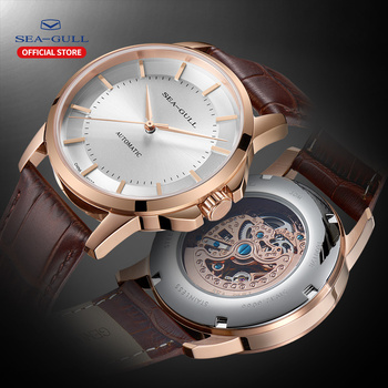 2020 Seagull Men's Automatic Mechanical Watch Official Genuine Simple Business Men's Belt Waterproof Sapphire Watch 819.12.6066 leisure automatic mechanical genuine leather waterproof watch with rome digital business for various occasions m172s brown