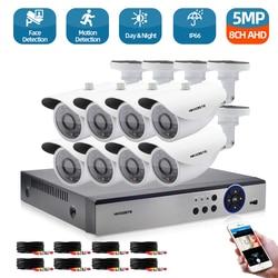 Распознавание лиц 8CH 5mp AHD DVR Kit 5 в 1 8 шт. Камера s наружного видеонаблюдения Камера Системы ИК безопасности Камера видеонаблюдение Системы