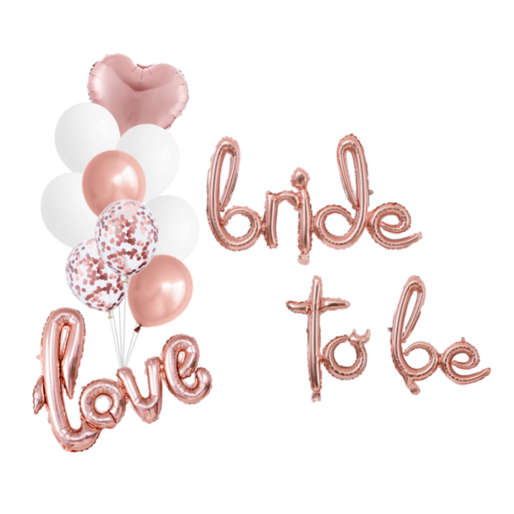 1Set Rose Gold Bride to be Script Ring Balloon Wedding Bridal Shower Just Married Foil Balloon Hen Bachelorette Party Decoration