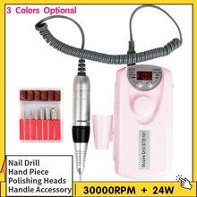 Máquina pulidora eléctrica para uñas, juego de taladro eléctrico de 24W/30W, 3000rpm, herramienta de manicura para piel muerta