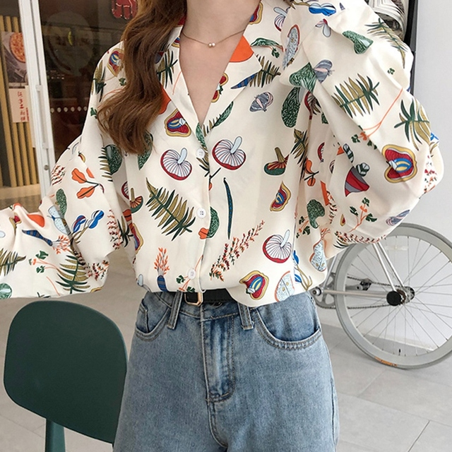 Autumn Blouses Women Vintage Printed Long Sleeve Turn Down Collar Pleated Shirts Female Casual Wear Chic Blouse Top 2