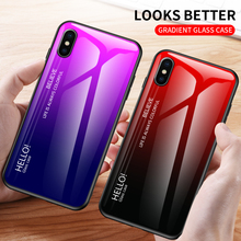 Gradient Tempered Glass Phone Case For iphone 11 Pro Max X XS Max XR 7 8 6 6S Plus Shockproof TPU Back Cover Protective Fundas wood texture tempered glass phone case for iphone 11 pro max x xs max xr 7 8 6 6s plus soft protective luxury back cover fundas