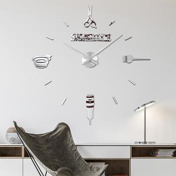 Moda proste strzyżenie narzędzia EVA zegar fryzjerstwo DIY akrylowe kreatywne naklejki ścienne 3D Stereo Watche niestandardowe igły zegary ścienne tanie i dobre opinie Martwa natura Igła Krótkie Cyfrowy Wall clock Metal 42*14 5*9cm Acrylic Pointer