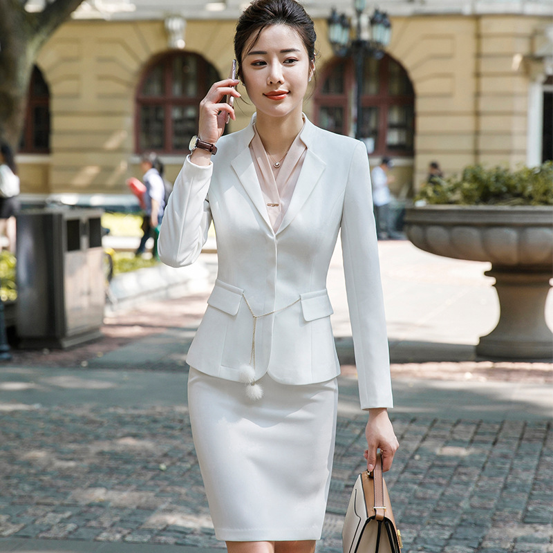 Black Women's Formal Elegant Uniform Styles Blazers Suits Two Piece With Tops And Skirt For Ladies Office Work Wear Jacket Sets