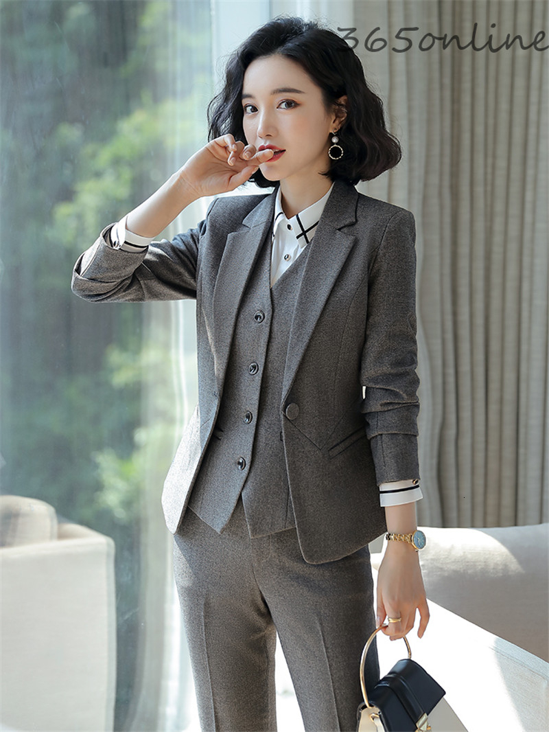 Formal Uniform Designs Pantsuits For Women Business Work Wear Suits Autumn Winter Professional Ladies Office Blazers Sets Gray