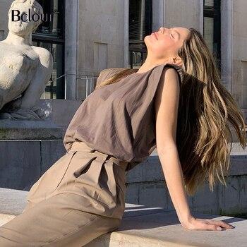 Loose sleeveless top women o neck