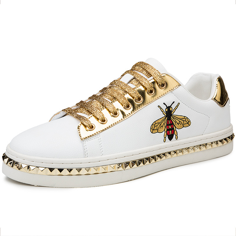 European Station Tide Shoes 2020 New Net Red Embroidery Little Bee White Shoes Youth Trend Fashion Shoes Casual Shoes