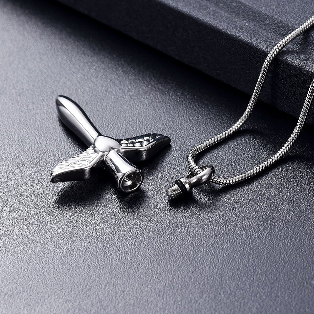 IJD12240 Stainless Steel Angel Wings Heart Cross Cremation Jewelry Pendant for Pet/Human Memorial Ash Keepsake Necklace 5