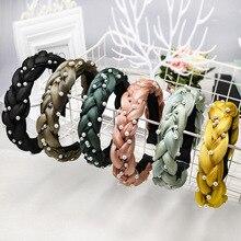 Korean Style twisted braid hairband women girls pearl hair head hoop band headband accessories for women headdress headwear цена