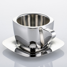 Stainless Steel Double Walled Espresso Cups and Saucers, 3 Capacity Coffee to Choose for Latte & Cappuccino