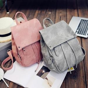 Image 5 - Da Vintage Bagpack Nữ Lưng Cao Cấp Đa Chức Năng Túi Đeo Vai Nữ Bé Gái Ba Lô Retro Schoolbag XA533H