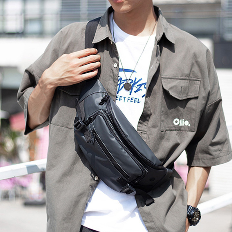 Men Waist Bag Waterproof Nylon Fanny Pack Chest Bag Multifunction Casual Crossbody Packs Outdoor Shoulder Bags Belt Waist Pack