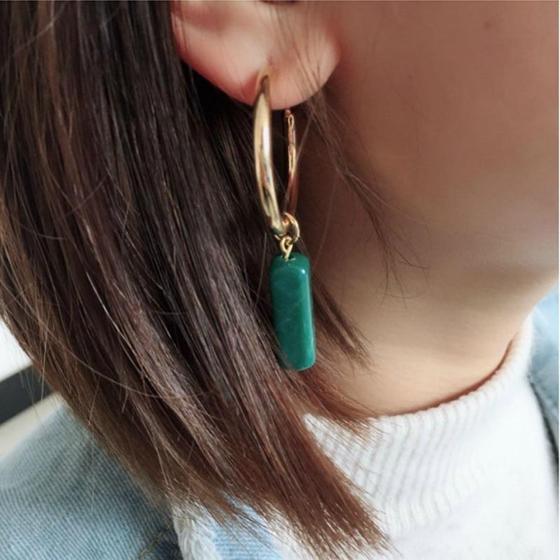 Fashion Hot Simple New Women's Fashion Long Earrings Geometric Acrylic Green Metal Circle Retro Niche Earrings Wholesale