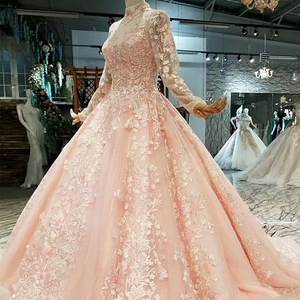Image 3 - LS324749 light color girls pageant party dresses long tulle sleeves high neck  brush train beauty autumn long evening dresses