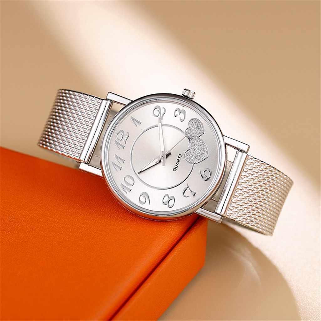 موضة نساء ساعات ساعة سيدات فضّيّ قلب طلب سيليكون شبكة حزام ساعة معصم Reloj Mujer Montre فام ساعة نسائية 2020