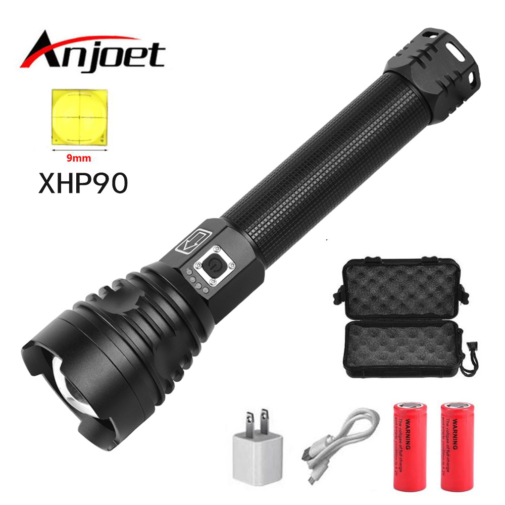Anjoet XHP90 Powerful Led Flashlight Zoomable 26650 Or 18650 Battery Tactical Flash Light Torch Lamp Hunting