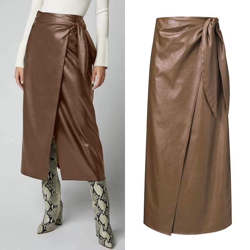 Women's PU Leather Vestidos ZANZEA 2020 Stylish Button Skirts High Waist Split Lace-Up Midi Skirts Female Solid Robe Oversized