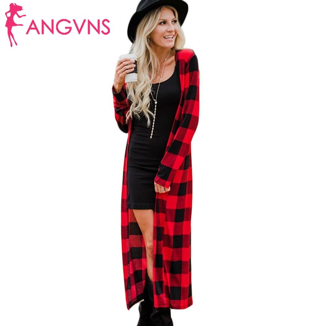 Women Fashion Casual V Neck Long White, Red Sleeve Plaid Long Summer Causal Cardigan