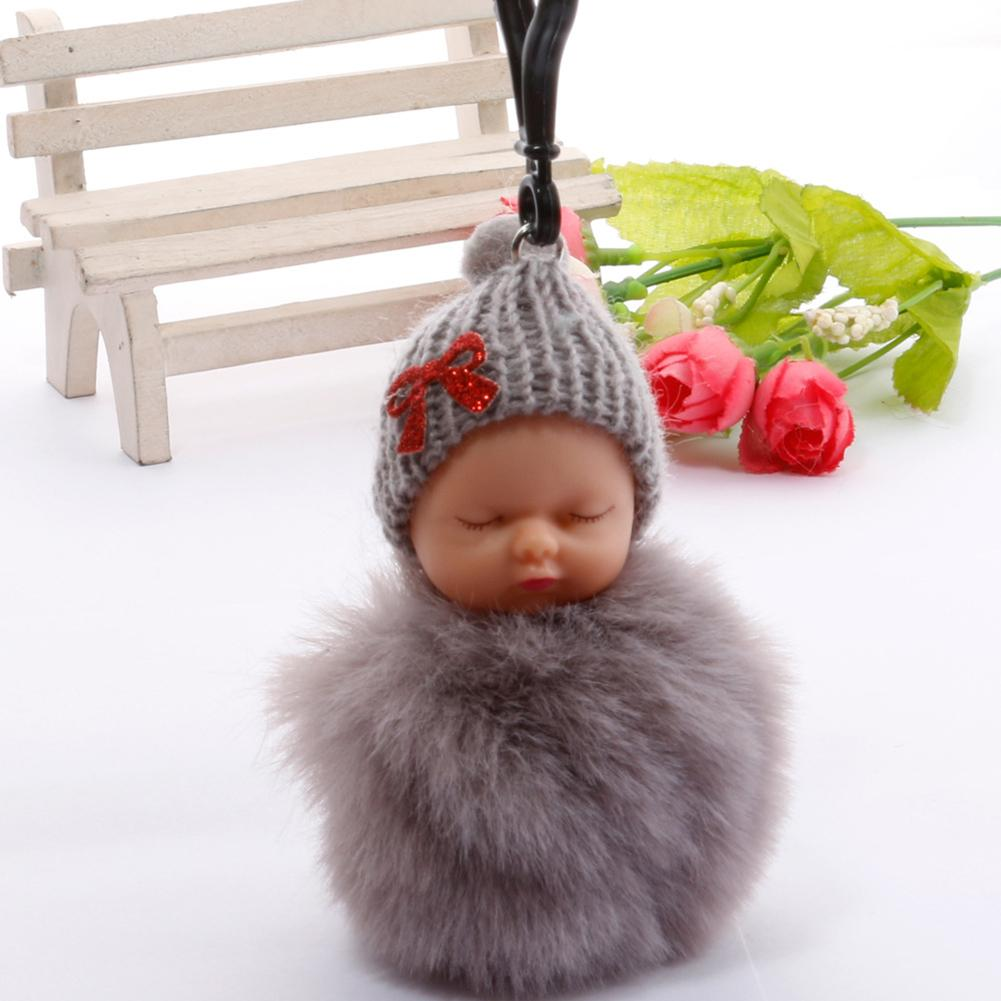 Cute Sleeping Baby Doll KeyChains For Women Bag Toy Key Ring Fluffy Pom Pom Faux Fur Plush Keychains Keyring Bag