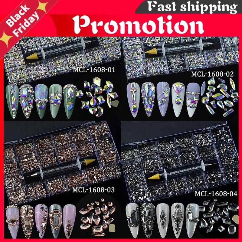 9300Pcs/Box Mixed AB Glass Crystal Diamond In Grids 20 Shape SS3-SS16 Flatback Nail Art Rhinestone Set With 1 Pick Up Pen