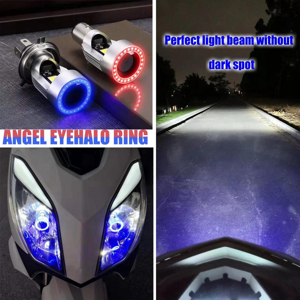 Blue   Pink Angel Eye H4 LED Motorcycle Headlight Ba20d HS1 H6 Scooter Motorbike Headlamp Light Bulb DRL Accessories 12   24V