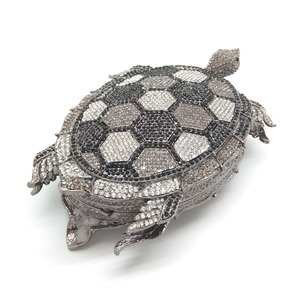 Image 2 - Boutique De FGG Novelty Diamond Turtle Minaudiere Evening Bags for Women Formal Wedding Party Crystal Clutch Purses and Handbags