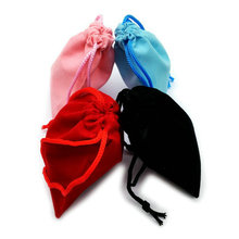 50pcs 7*9cm Velvet Drawstring Pouch Bag/Jewelry Bag Christmas/Wedding Gift Bags Black blue pink  Red Wholesale