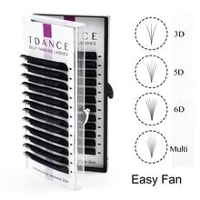 TDANCE Easy Fan Lashes Bloom Eyelash Extension Austomatic Flowering Fast Fan Self Making Fans Volume Lashes soft makeup eyelash
