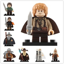 8Pcs/Set The Lord Of The Rings Legoed Action Minifigured Frodo Playmobil Building Blocks Figures Kit Toys For Children Gift 1pc the hobbits lord of the rings knight diy figures assemble model diy building blocks sets kids educational toys gift xmas