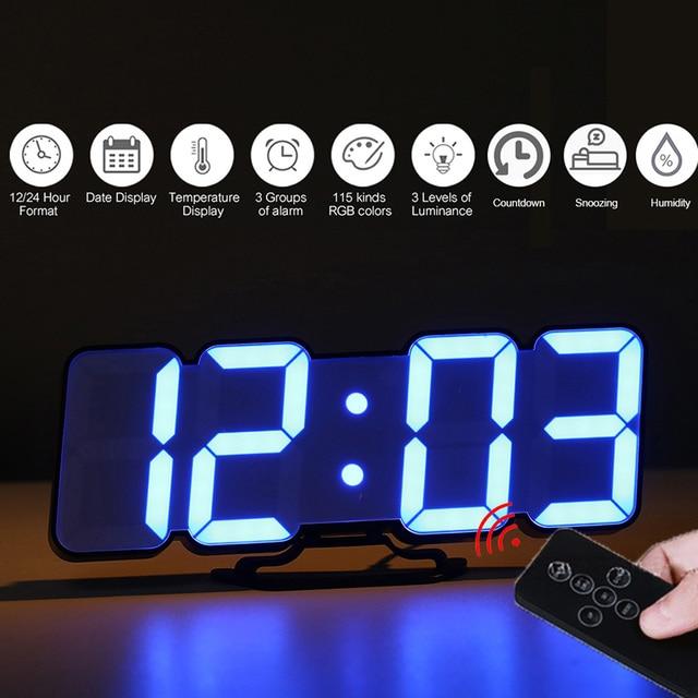 Upgrade 3D Remote Control Digital Wall Clock 115 Colors LED Table Clock Time Alarm Temperature Date Sound Control Night Light 1