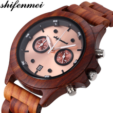 Shifenmei Wooden Mens Watches Brand Luxury Military Quartz Watch Business Wristwatch Chronograph Date Dispaly Clock Male Gifts цена и фото