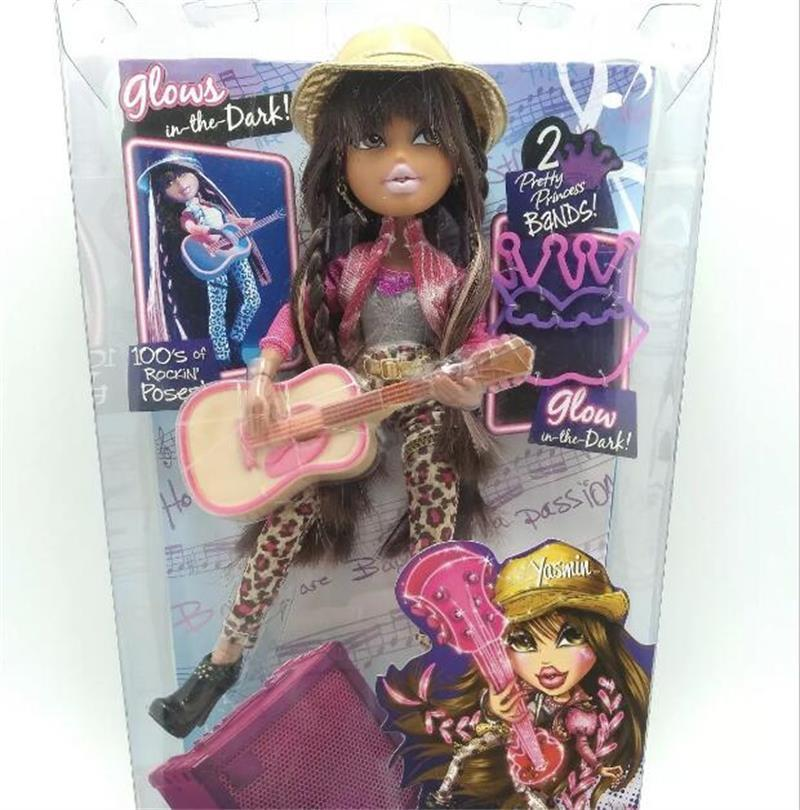 26cm Bratz Doll Dress Up Rock Guitar Doll Glow In The Dark YASMIN Best Gift For Girl Long Hair DIY Dream Toy For Children