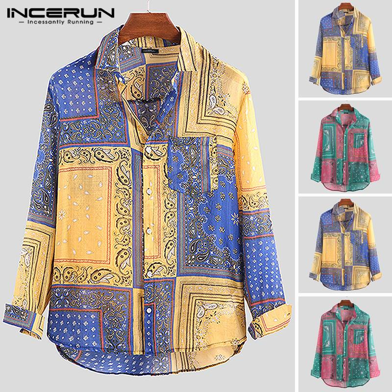 INCERUN Vintage Printed Men Casual Shirt Ethnic Loose Long Sleeve Vacation Lapel Neck Hawaiian Brand Mens Shirts Camisa 2020 5XL