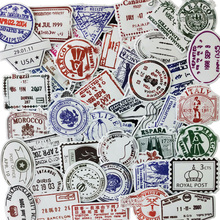 50pcs Graffiti Sticker Transparent Waterproof Postmark Retro Scrapbooking Guitar Skateboard Portable Luggage Stickers