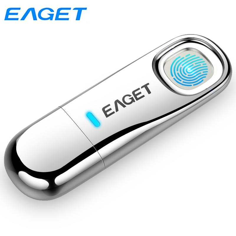 Eaget Fingerprint Recognition USB 3.0 Flash Drive 64GB Pendrive 32GB Privacy Encrypted Memoria USB Stick Top Security Pen Drives