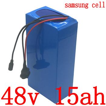 48V bateria 48v 15ah akumulator do rowerów elektrycznych 48v 15ah akumulatorów litowo-jonowych samsung komórki do 48V 500W 750W 1000W ebike silnika tanie i dobre opinie JSA KAKA 10-20ah 48 v Bateria litowa 3 7V 3000mah samsung 18650 250*105*70mm 54 6V 2A Charger blue 1 years 5 parallel 13 series