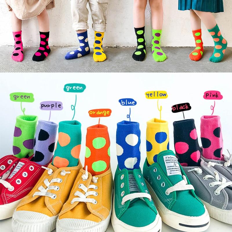 2019 Kids Winter Cotton Socks Boys Girls Toddler Warm Short Sock Children Fashion Colourful LFluorescent Dot Color Matching Sock