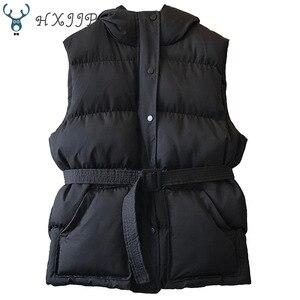 Image 5 - HXJJP Women Vest Winter Jacket Pocket Hooded Coat Warm Casual Cotton Padded Vest Female Slim Sleeveless Waistcoat Belt In Stock