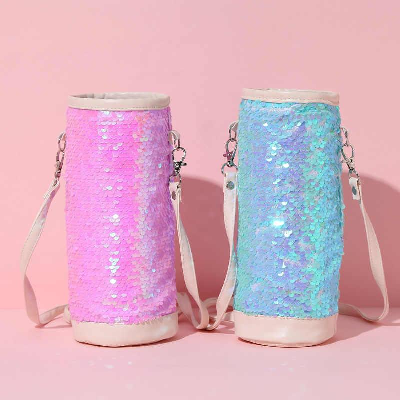 Novas lantejoulas saco conjunto caneca copo estudante copo à prova de vazamento-saco caneta saco de lantejoulas bolsa de ombro menina BW01-SB-bxxslp