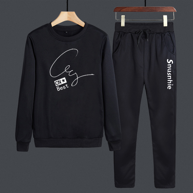 2019 Fall And Winter Clothes MEN'S Hoodie Casual Crew Neck Long Sleeve Sports Set Men'S Wear Students Fashion Man Two-Piece Set