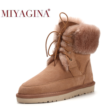 Top Quality Genuine Sheepskin Leather Woman Snow Boots Fashion Waterproof Winter Boots 100% Natural Fur Warm Wool Women Boots aiyuqi genuine leather female winter boots full cowhide waterproof wool lined fashion women booties female bare black boots