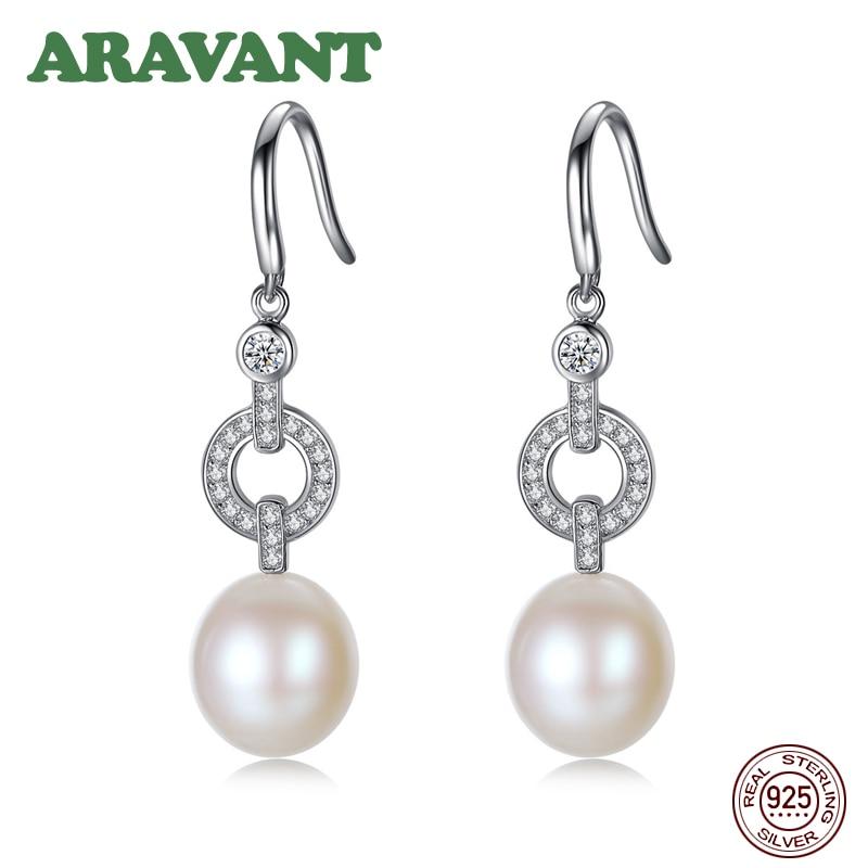 925 Sterling Silver Natural Freshwater Pearl Drop Earrings For Women Fashion Pearl Earrings Jewelry in Drop Earrings from Jewelry Accessories