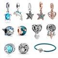 925 sterling silver woman jewelry ocean series narwhal charm starfish ocean waves & fish beads fit Pandora bracelet DIY pendant