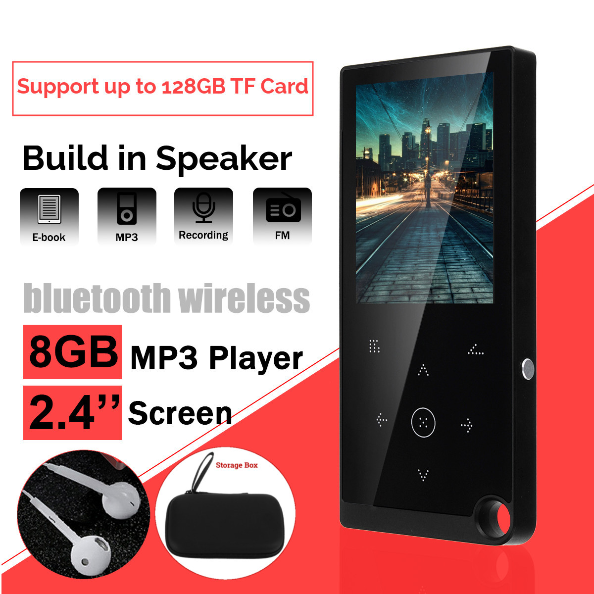 2.4 Inches Screen Bluetooth Portable MP3 MP 4 Players FM Radio E-book Voice Recorder Audio Video HiFi Music Player With Earphone