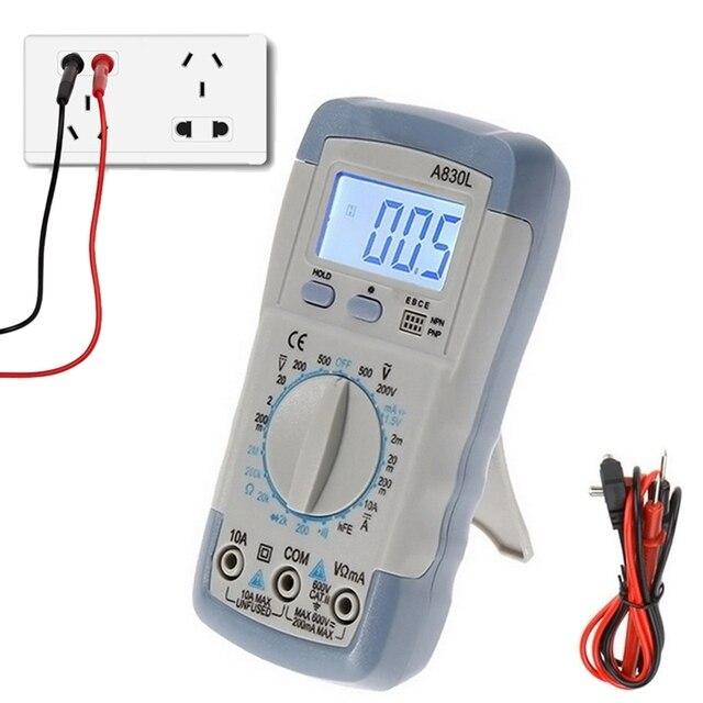 A830L מיני מודד LCD דיגיטלי Multimetro וולט אמפר אוהם Tester Meter מד מתח מד זרם תאורה אחורית להגן על עם בדיקה