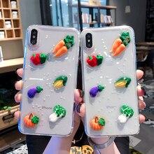 귀여운 3D 야채 아이폰 XR 케이스 X Xs 최대 6S 6 7 8 플러스 당근 투명 반짝이 스타 소프트 TPU 커버에 대 한 빛나는 전화 케이스