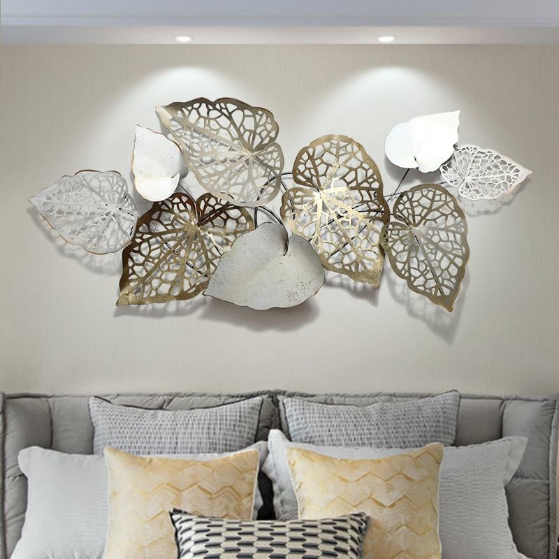 European handmade iron art 3D wall decoration creative leaf metal wall decor for living room hotel background wall ornaments
