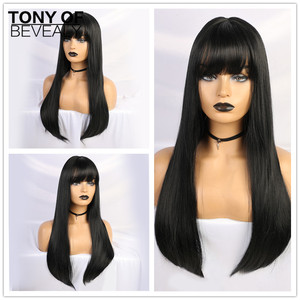 Image 1 - Длинные прямые черные парики термостойкие синтетические парики с челкой для женщин афро американские натуральные повседневные парики из натуральных волос для вечеринки