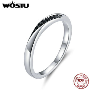 WOSTU Genuine 925 Sterling Silver Rock Style Finger Ring for Women Black Cubic Zircon Wedding Engagement Jewelry Anel CTR130